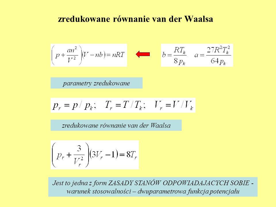 zredukowane równanie van der Waalsa