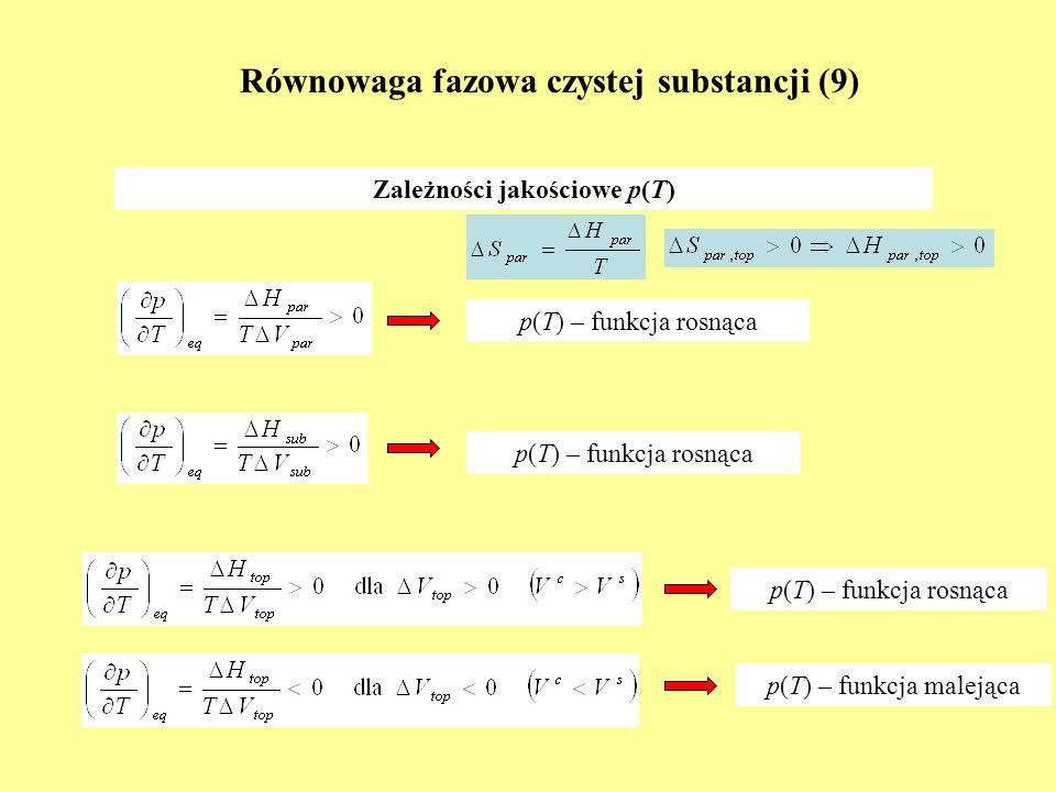 Równowaga fazowa czystej substancji (9)
