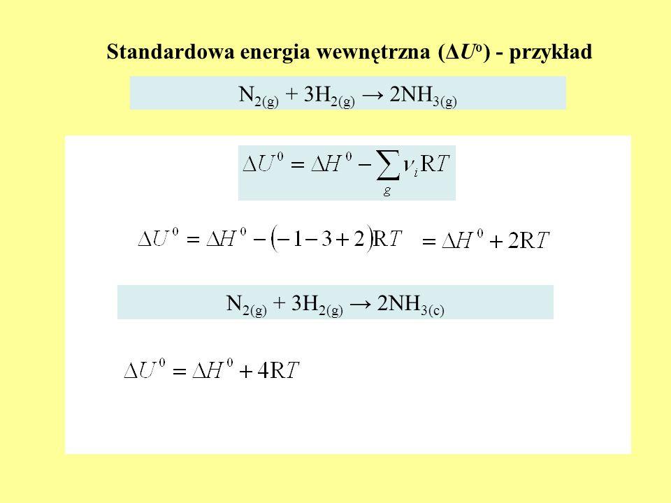 Standardowa energia wewnętrzna (ΔUo) - przykład