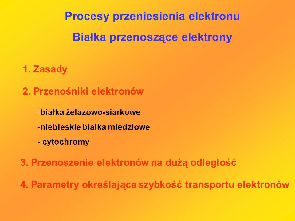 Procesy przeniesienia elektronu Białka przenoszące elektrony