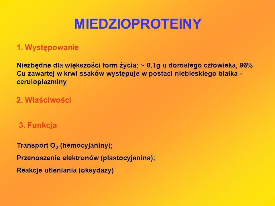 MIEDZIOPROTEINY 1. Występowanie 2. Właściwości 3. Funkcja