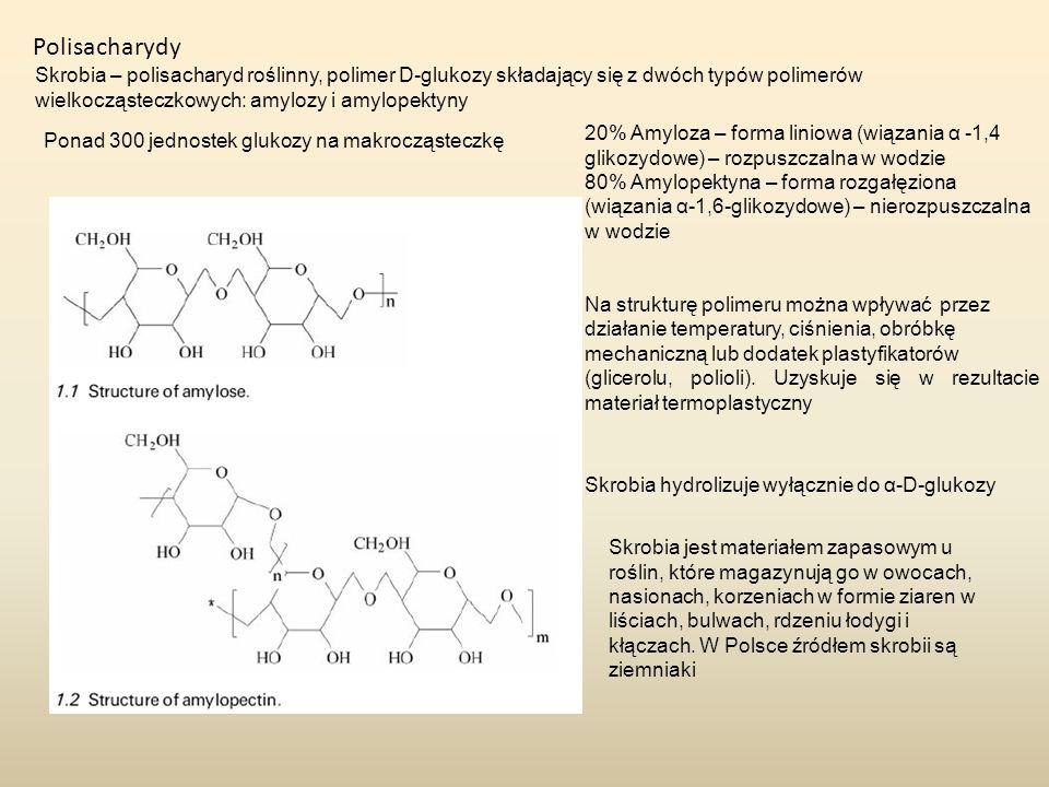 Polisacharydy Skrobia – polisacharyd roślinny, polimer D-glukozy składający się z dwóch typów polimerów wielkocząsteczkowych: amylozy i amylopektyny.