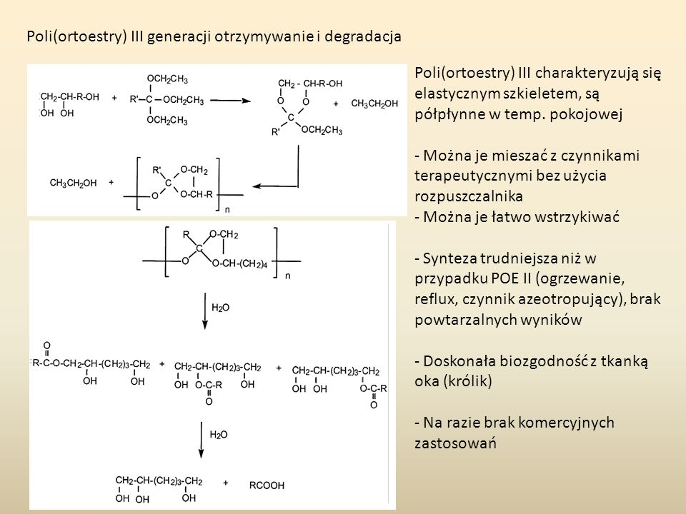 Poli(ortoestry) III generacji otrzymywanie i degradacja