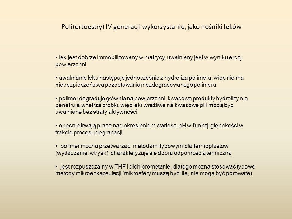 Poli(ortoestry) IV generacji wykorzystanie, jako nośniki leków