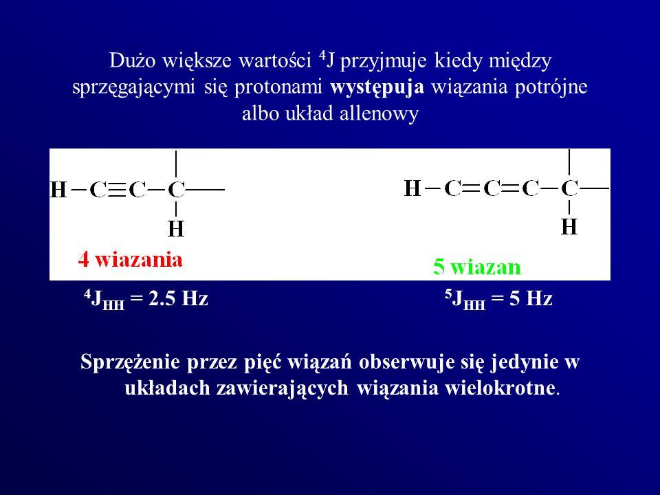 Dużo większe wartości 4J przyjmuje kiedy między sprzęgającymi się protonami występuja wiązania potrójne albo układ allenowy
