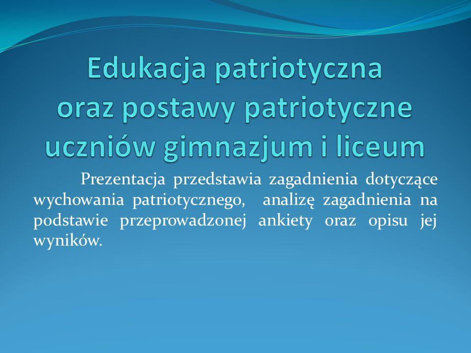 Edukacja patriotyczna oraz postawy patriotyczne uczniów gimnazjum i liceum