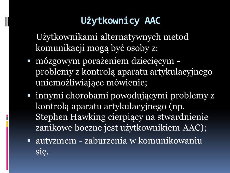 Użytkownicy AAC Użytkownikami alternatywnych metod komunikacji mogą być osoby z: