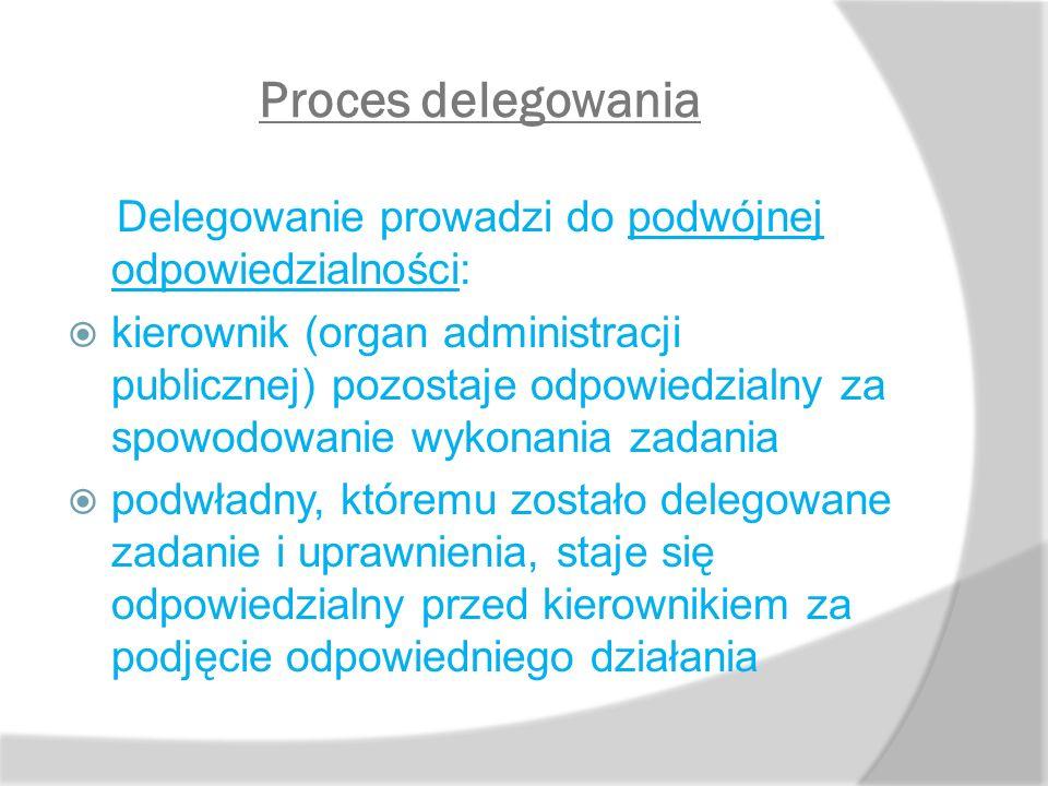 Proces delegowania Delegowanie prowadzi do podwójnej odpowiedzialności: