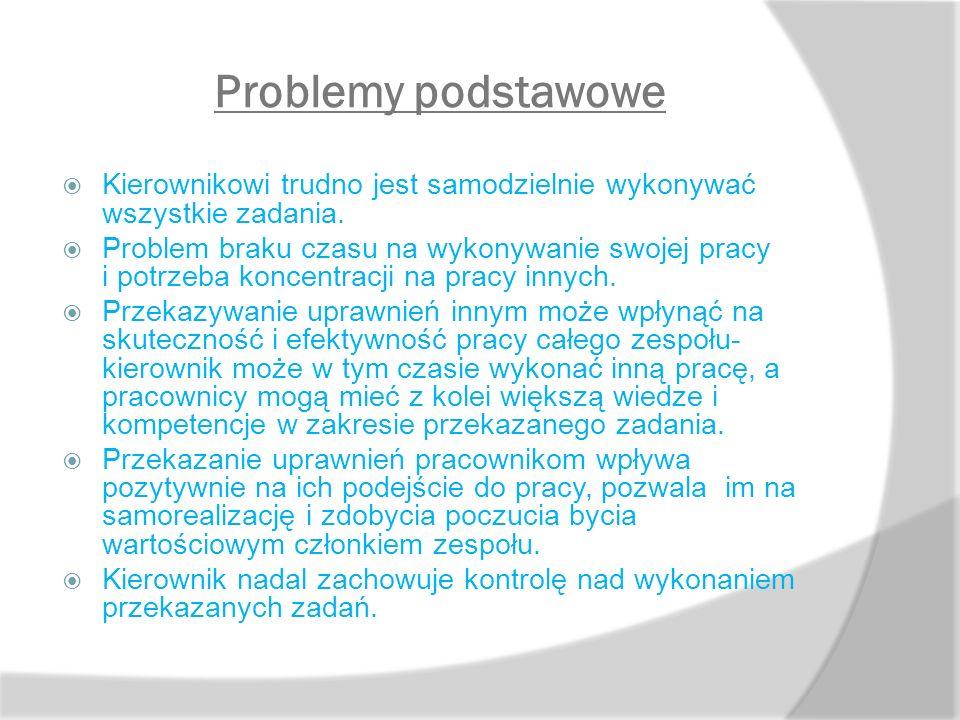 Problemy podstawowe Kierownikowi trudno jest samodzielnie wykonywać wszystkie zadania.