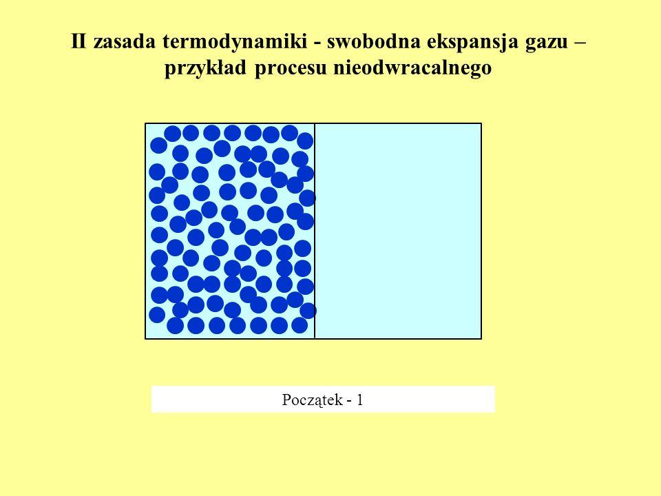 II zasada termodynamiki - swobodna ekspansja gazu – przykład procesu nieodwracalnego