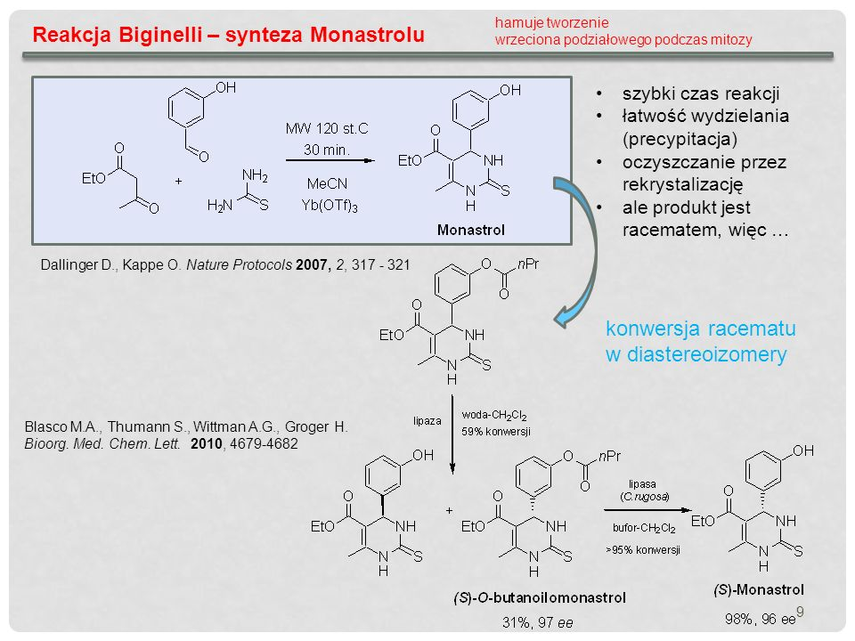 Reakcja Biginelli – synteza Monastrolu