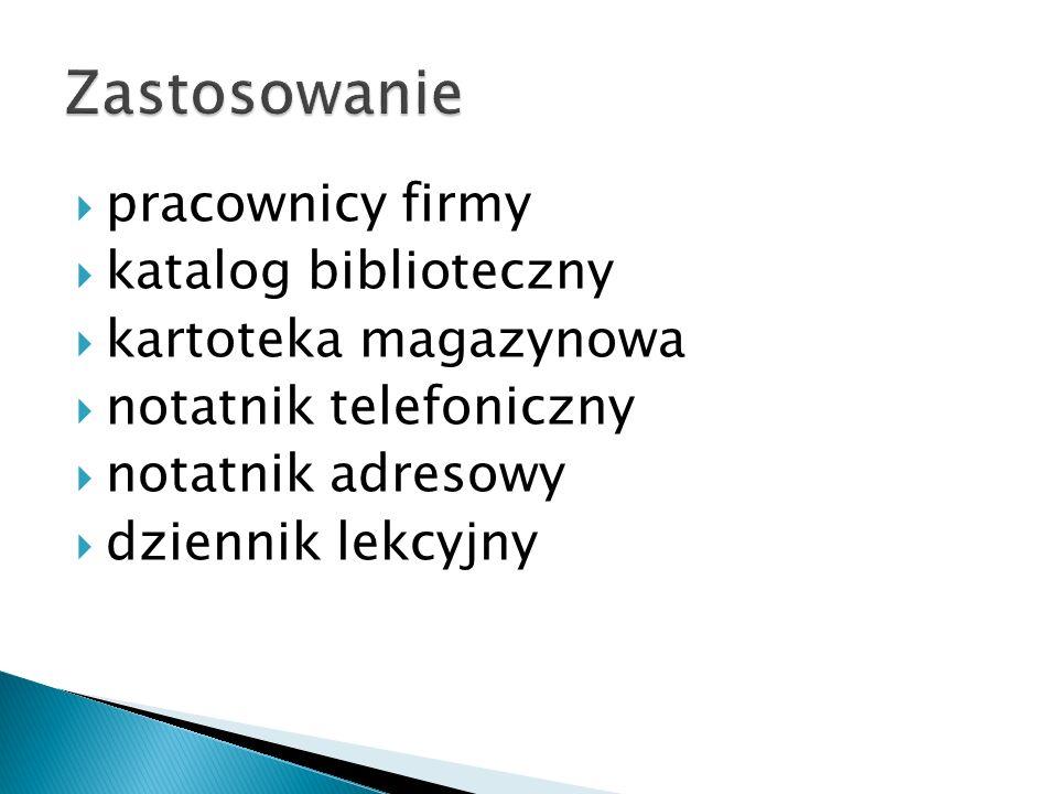Zastosowanie pracownicy firmy katalog biblioteczny