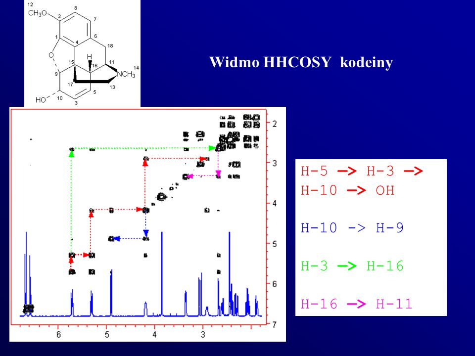 Widmo HHCOSY kodeiny H-5 —> H-3 —> H-10 —> OH H-10 -> H-9 H-3 —> H-16 H-16 —> H-11