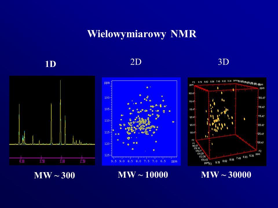 Wielowymiarowy NMR 2D 3D 1D MW ~ 300 MW ~ 10000 MW ~ 30000