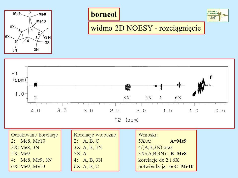 widmo 2D NOESY - rozciągnięcie