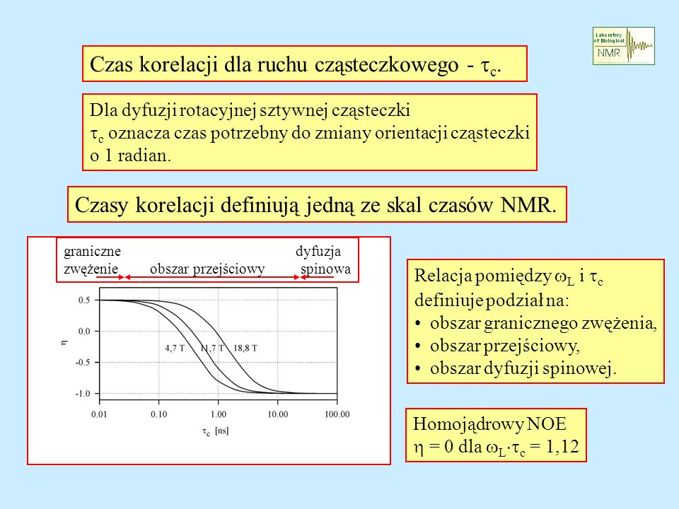 Czas korelacji dla ruchu cząsteczkowego - tc.