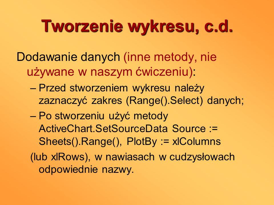 Tworzenie wykresu, c.d. Dodawanie danych (inne metody, nie używane w naszym ćwiczeniu):