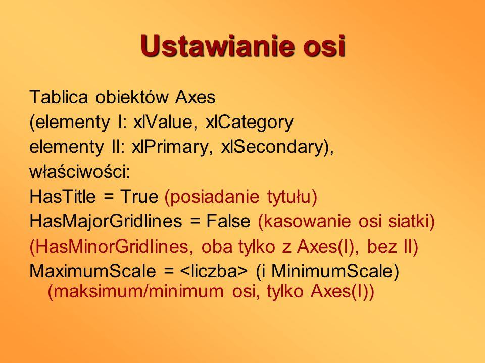 Ustawianie osi Tablica obiektów Axes (elementy I: xlValue, xlCategory