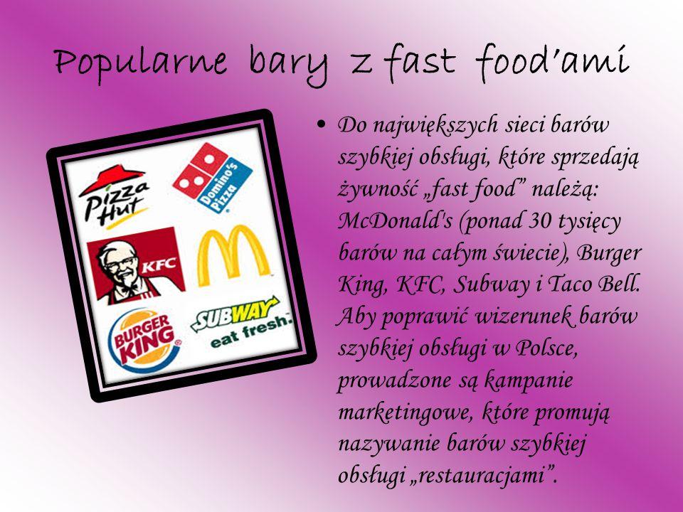 Popularne bary z fast food'ami
