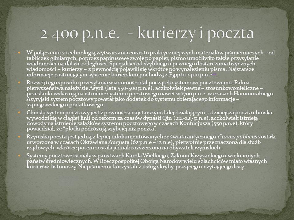 2 400 p.n.e. - kurierzy i poczta