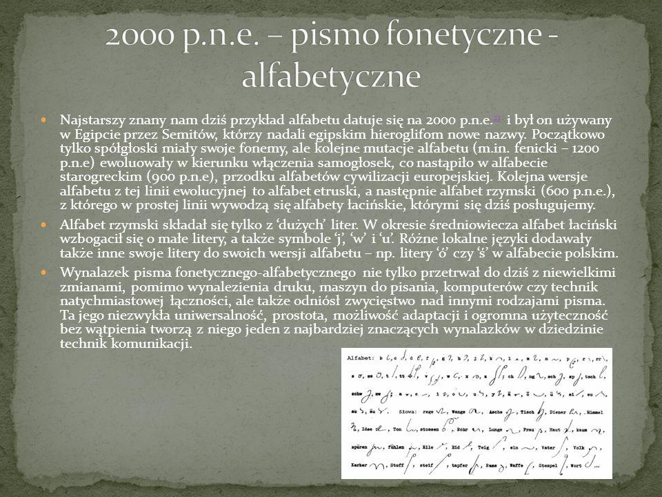 2000 p.n.e. – pismo fonetyczne - alfabetyczne
