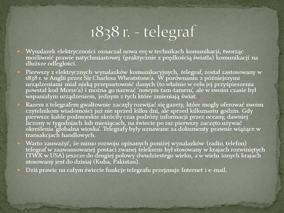 1838 r. - telegraf