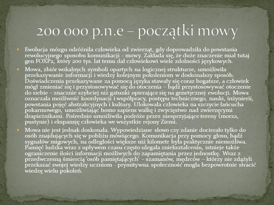 200 000 p.n.e – początki mowy