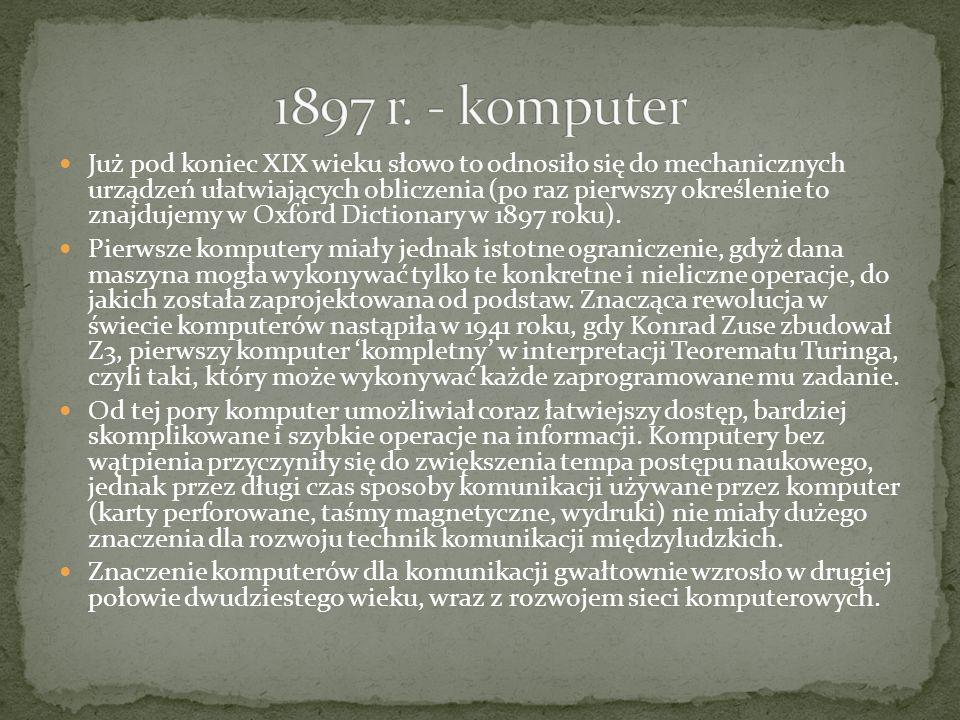 1897 r. - komputer