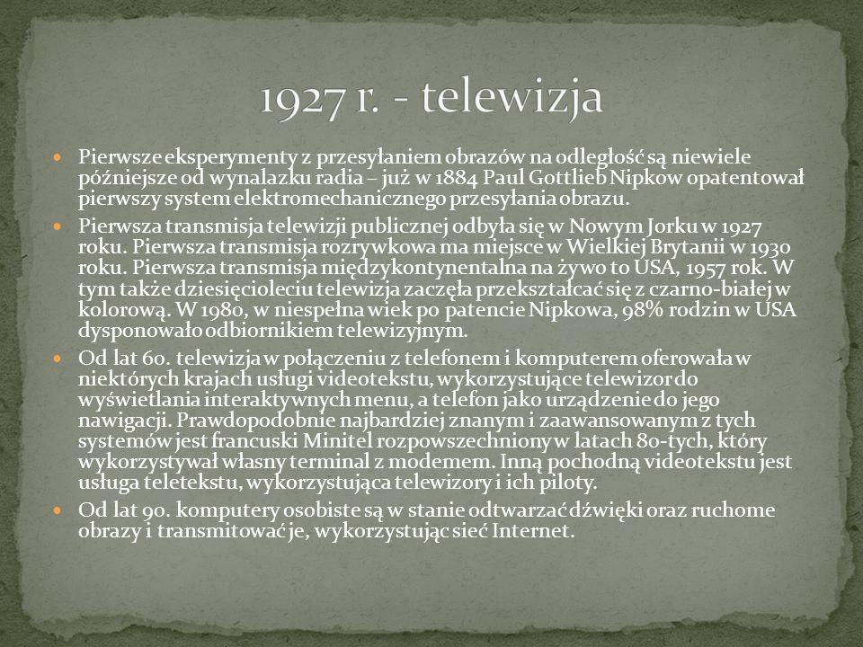 1927 r. - telewizja