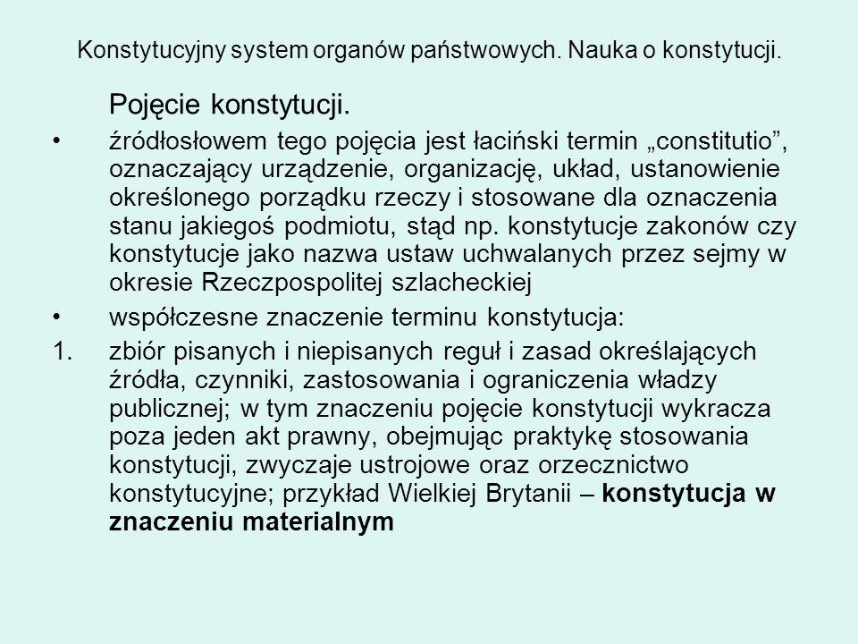 Konstytucyjny system organów państwowych. Nauka o konstytucji.