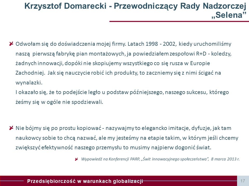 """Krzysztof Domarecki - Przewodniczący Rady Nadzorczej """"Selena"""