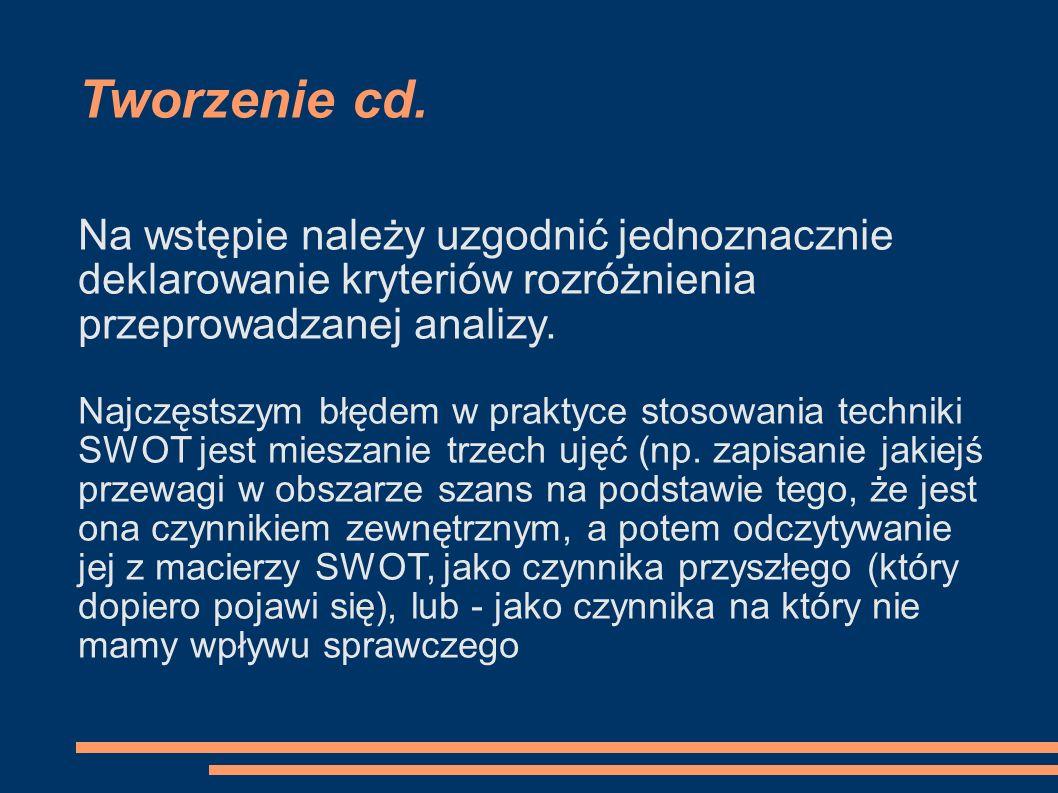 Tworzenie cd. Na wstępie należy uzgodnić jednoznacznie deklarowanie kryteriów rozróżnienia przeprowadzanej analizy.