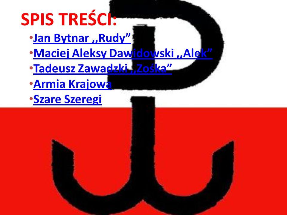 SPIS TREŚCI: Jan Bytnar ,,Rudy Maciej Aleksy Dawidowski ,,Alek