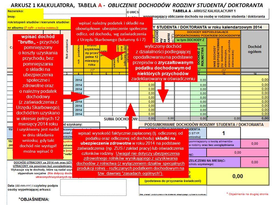 ARKUSZ 1 KALKULATORA, TABELA A - OBLICZENIE DOCHODÓW RODZINY STUDENTA/ DOKTORANTA