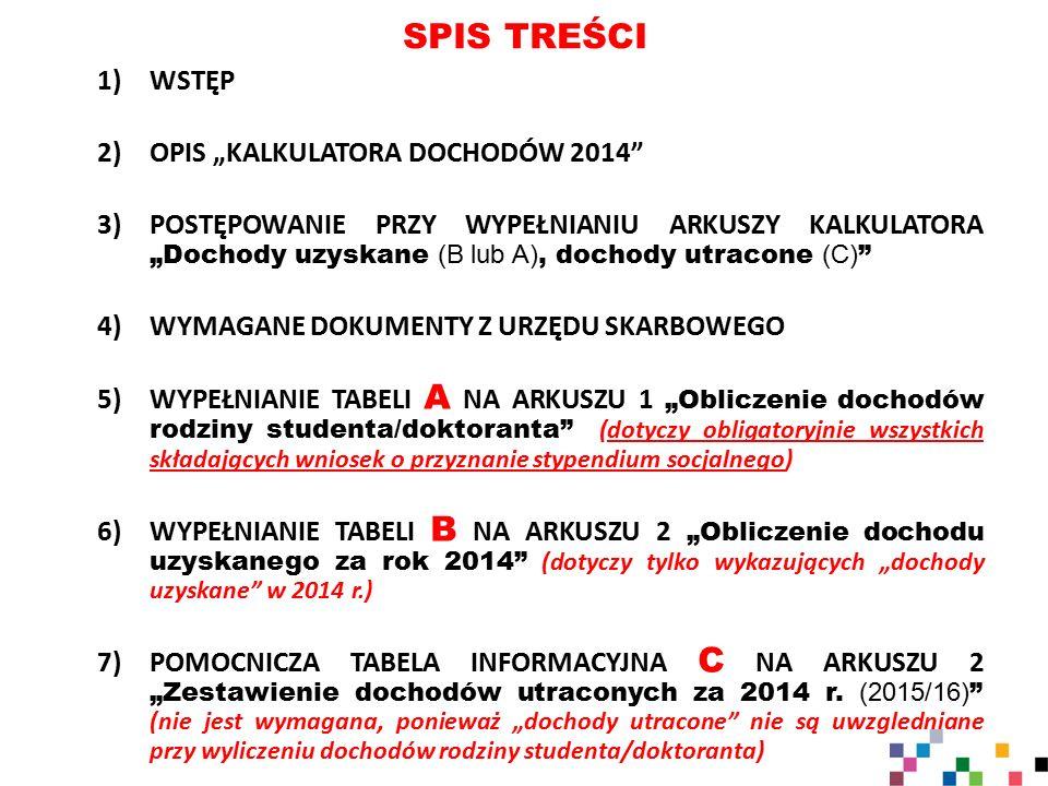 """SPIS TREŚCI WSTĘP OPIS """"KALKULATORA DOCHODÓW 2014"""