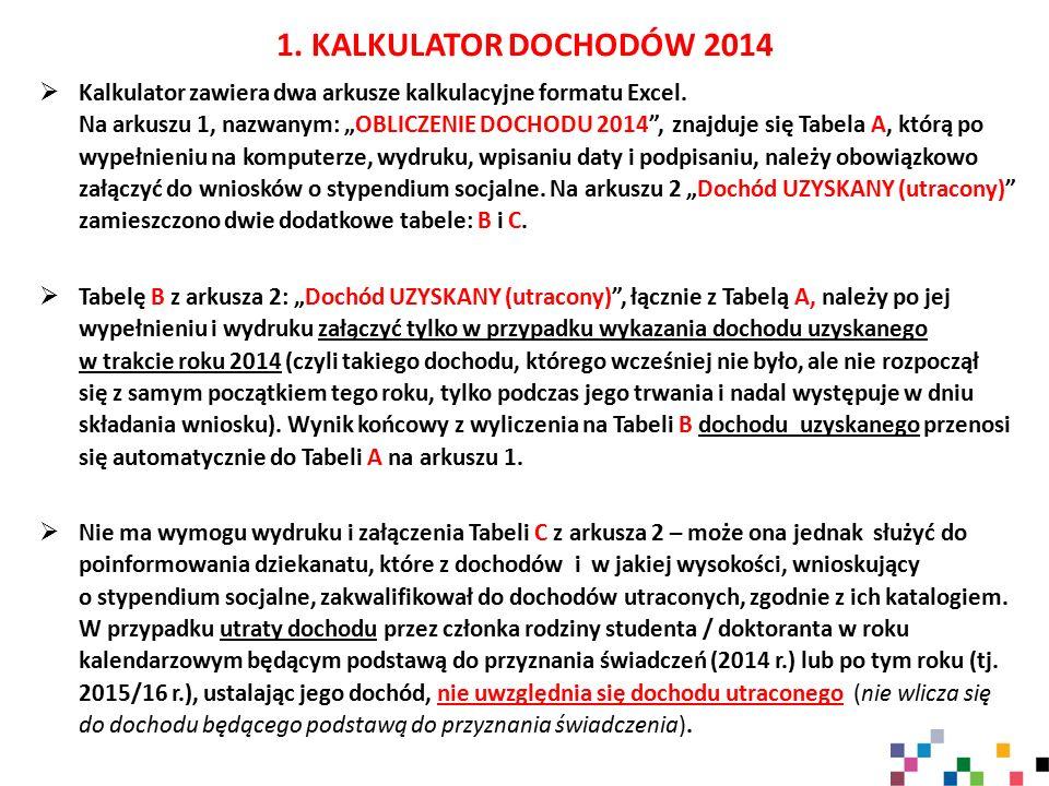 1. KALKULATOR DOCHODÓW 2014
