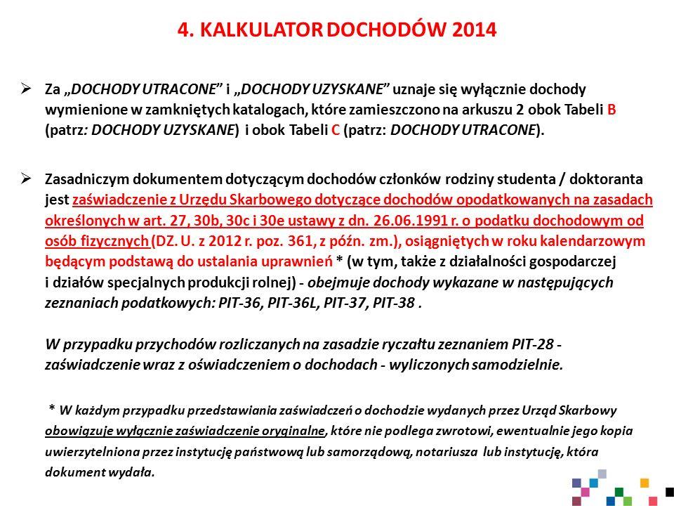 4. KALKULATOR DOCHODÓW 2014