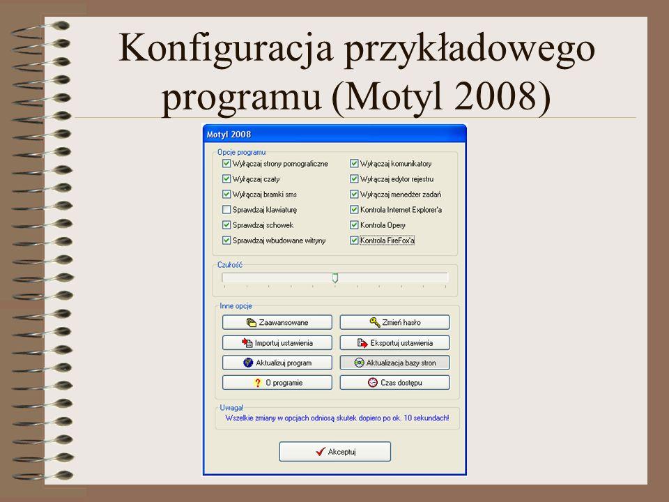 Konfiguracja przykładowego programu (Motyl 2008)