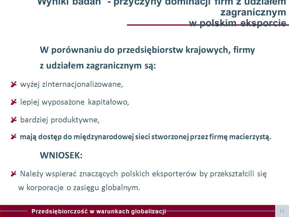 Wyniki badań - przyczyny dominacji firm z udziałem zagranicznym w polskim eksporcie