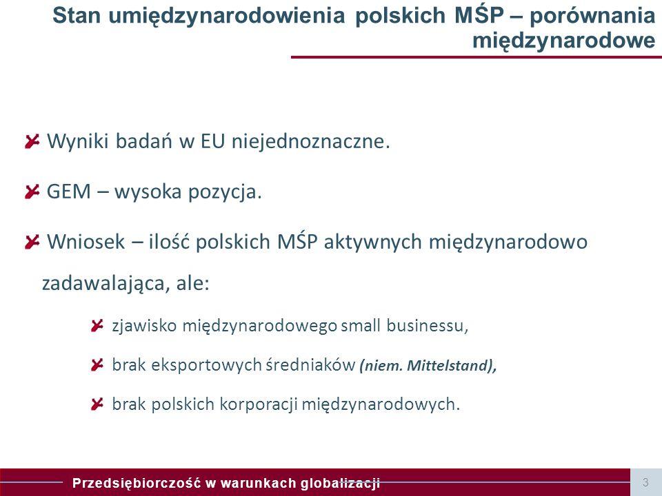 Stan umiędzynarodowienia polskich MŚP – porównania międzynarodowe