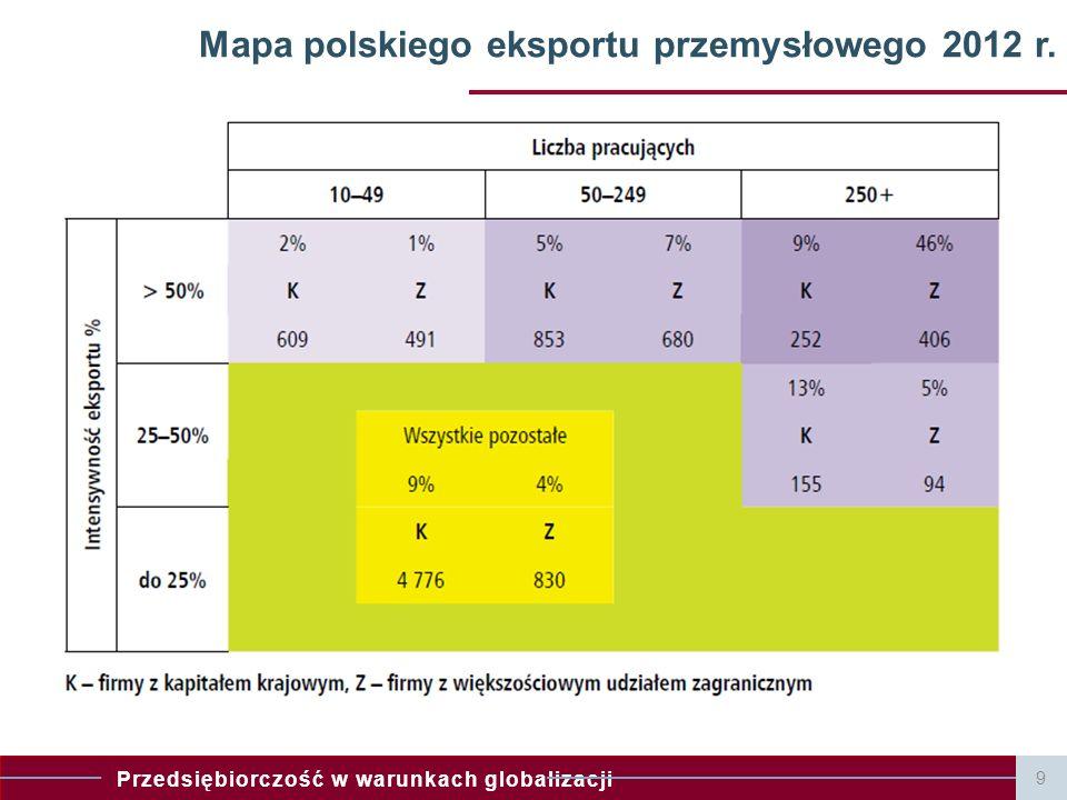 Mapa polskiego eksportu przemysłowego 2012 r.