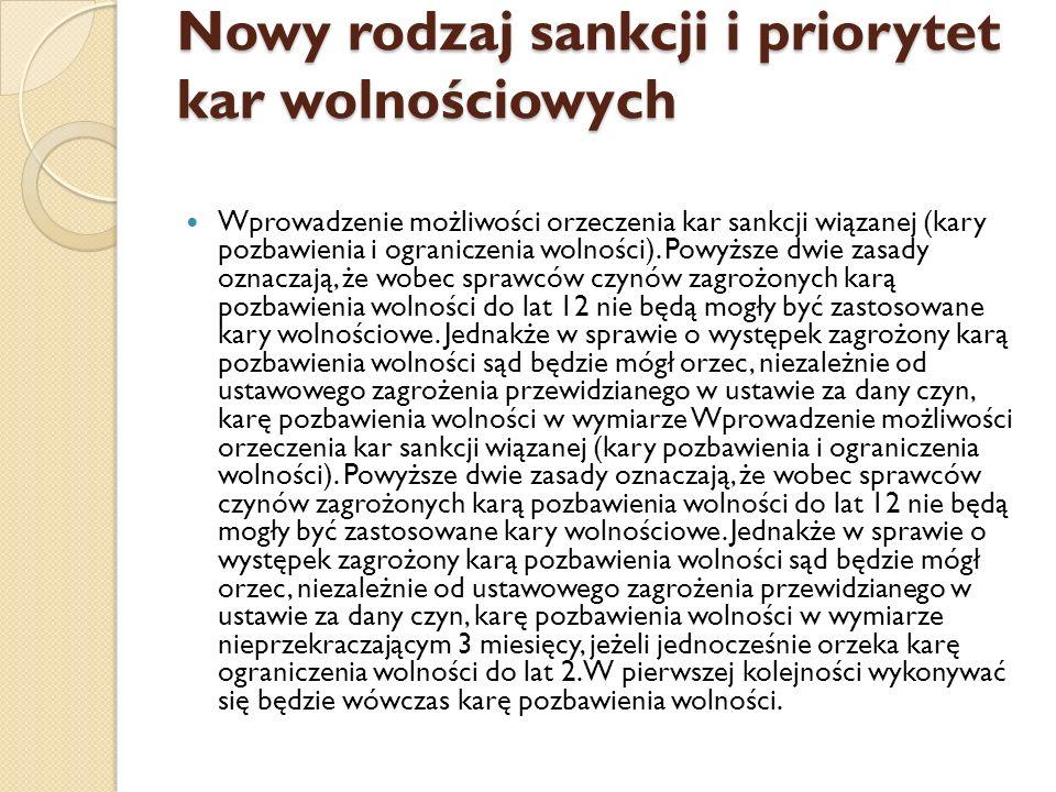Nowy rodzaj sankcji i priorytet kar wolnościowych