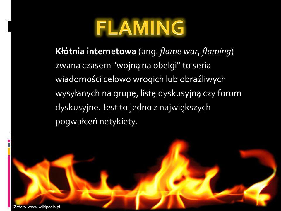 FLAMING Kłótnia internetowa (ang. flame war, flaming)