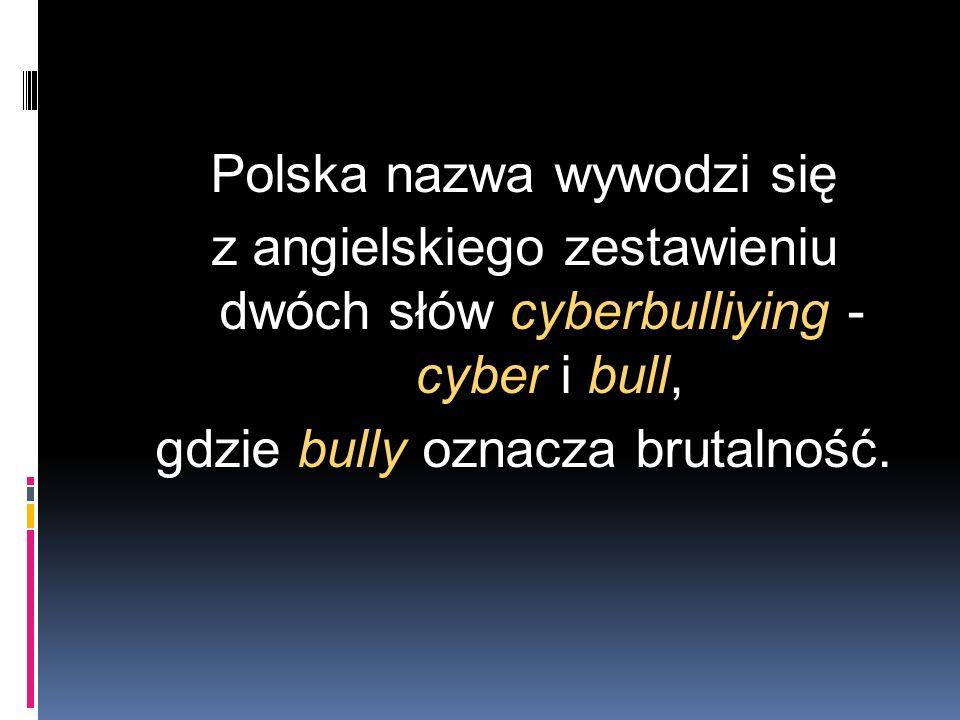 Polska nazwa wywodzi się z angielskiego zestawieniu dwóch słów cyberbulliying - cyber i bull, gdzie bully oznacza brutalność.