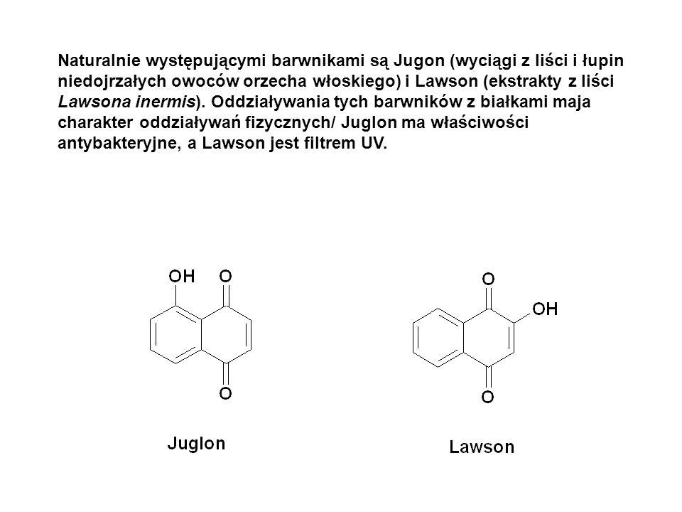 Naturalnie występującymi barwnikami są Jugon (wyciągi z liści i łupin niedojrzałych owoców orzecha włoskiego) i Lawson (ekstrakty z liści Lawsona inermis).