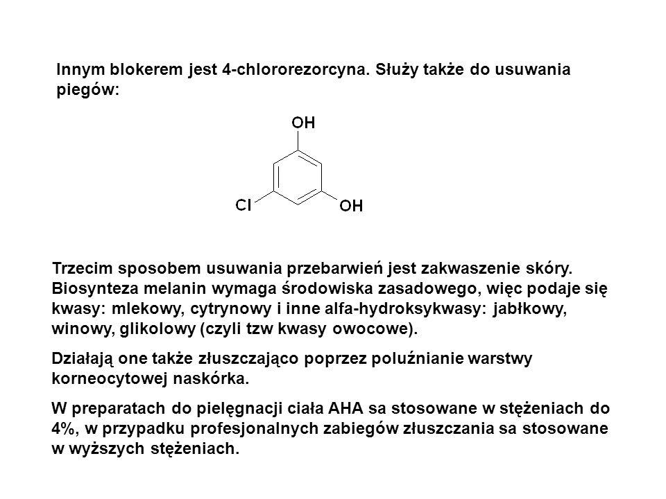 Innym blokerem jest 4-chlororezorcyna. Służy także do usuwania piegów: