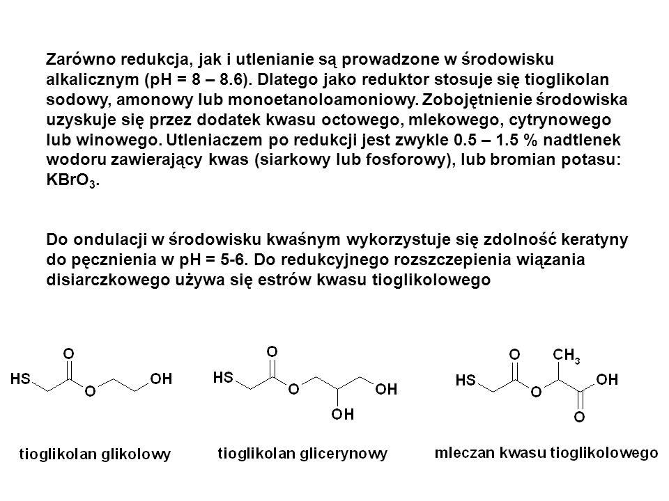 Zarówno redukcja, jak i utlenianie są prowadzone w środowisku alkalicznym (pH = 8 – 8.6). Dlatego jako reduktor stosuje się tioglikolan sodowy, amonowy lub monoetanoloamoniowy. Zobojętnienie środowiska uzyskuje się przez dodatek kwasu octowego, mlekowego, cytrynowego lub winowego. Utleniaczem po redukcji jest zwykle 0.5 – 1.5 % nadtlenek wodoru zawierający kwas (siarkowy lub fosforowy), lub bromian potasu: KBrO3.