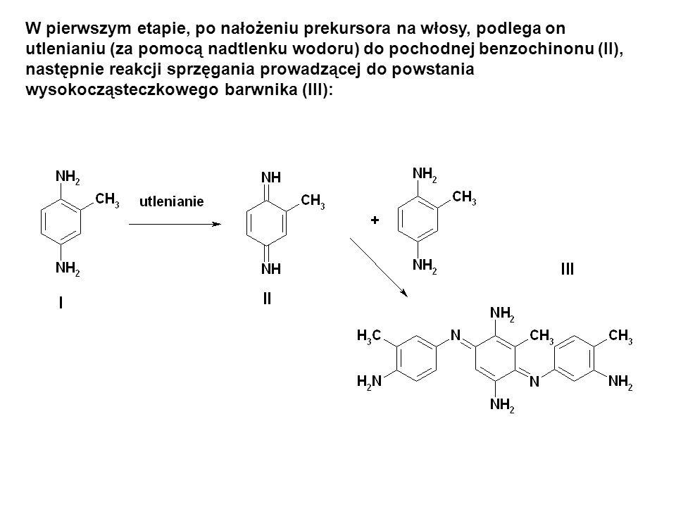 W pierwszym etapie, po nałożeniu prekursora na włosy, podlega on utlenianiu (za pomocą nadtlenku wodoru) do pochodnej benzochinonu (II), następnie reakcji sprzęgania prowadzącej do powstania wysokocząsteczkowego barwnika (III):