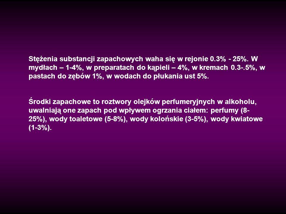 Stężenia substancji zapachowych waha się w rejonie 0. 3% - 25%