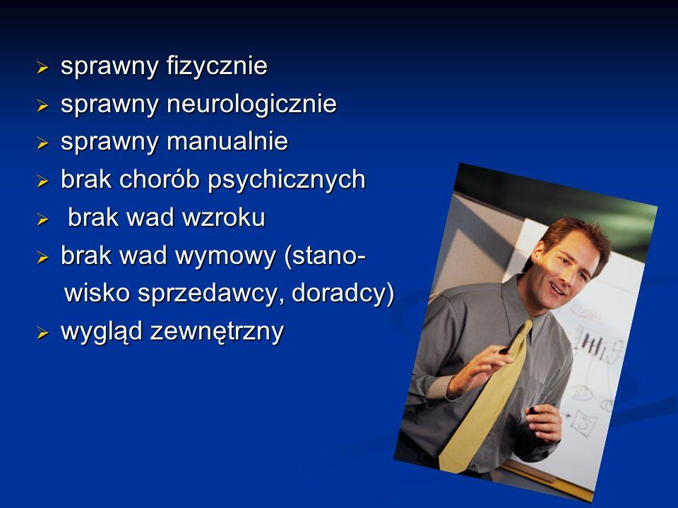 sprawny fizycznie sprawny neurologicznie. sprawny manualnie. brak chorób psychicznych. brak wad wzroku.